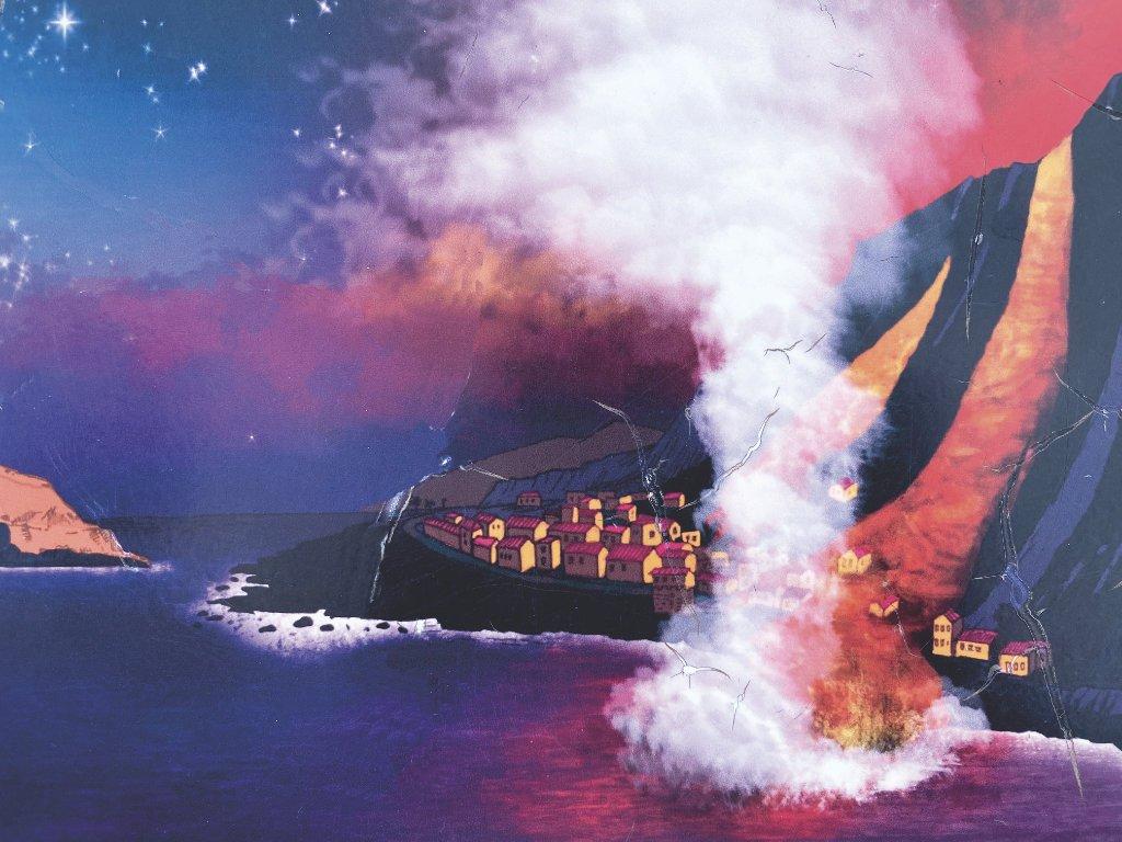 Zeichnung vom Vulkanausbruch der Garachico betraf