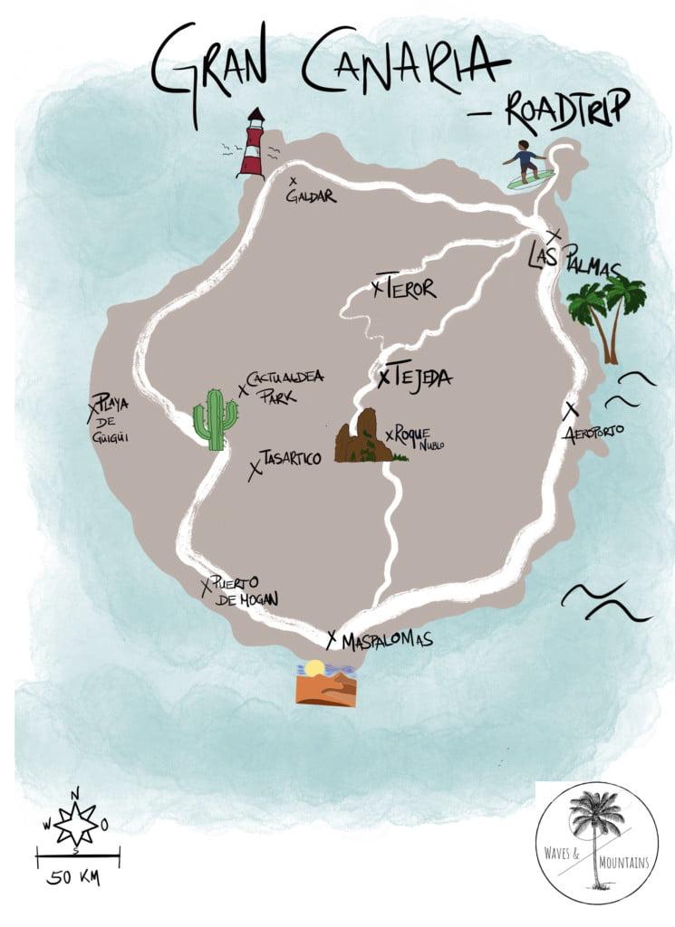 Karte Gran Canaria mit Camper