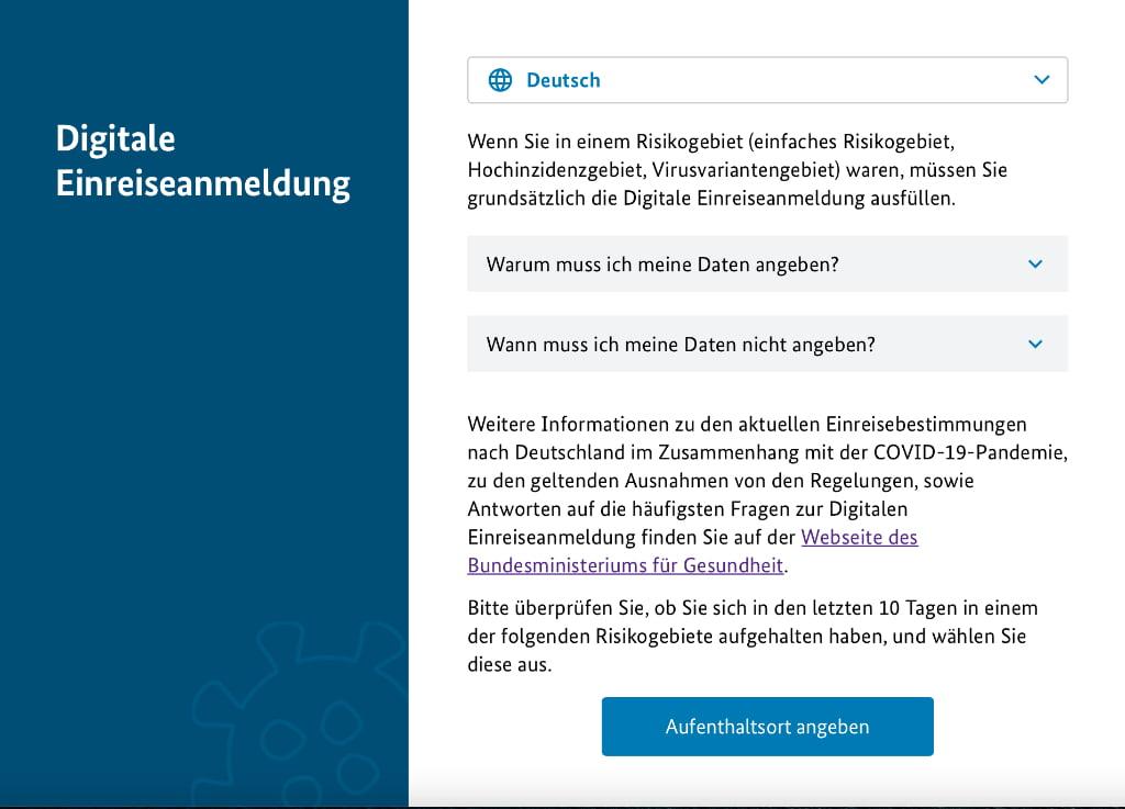 Portal zur Digitale Einreiseanmeldung für die Einreise nach Deutschland