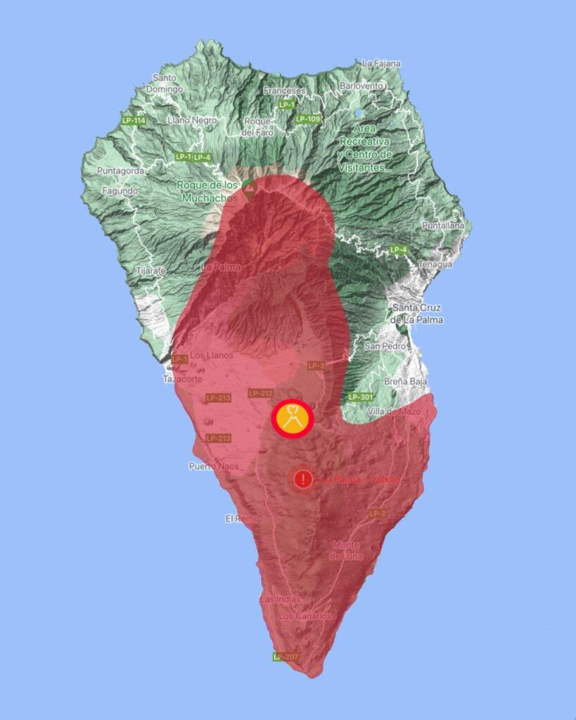 Zonen die in der Gelben Vulkanampeln auf La Palma sind